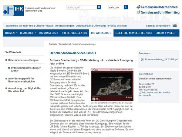 IHK Bonn berichtet über 3Dshowcase