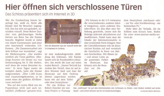Bonner General Anzeiger berichtet erneut über 3Dshowcase Schloss Drachenburg