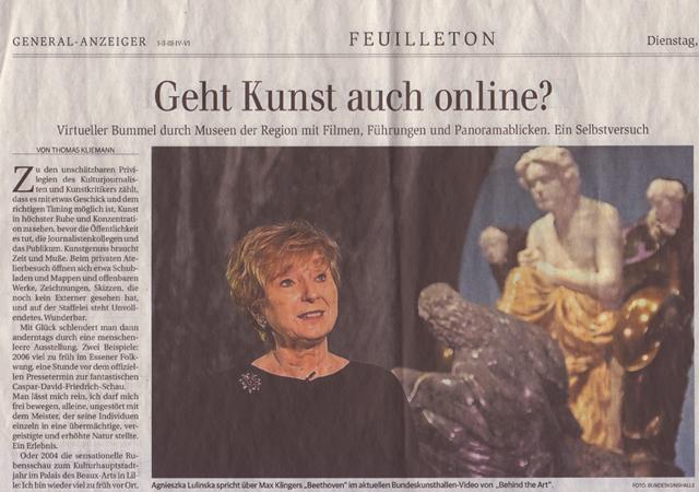 "Der Bonner General Anzeiger fragt: ""Geht Kunst auch online?"""